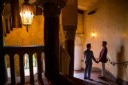 Silhouette of a gay couple at the Santa Barbara Courthouse staircase.