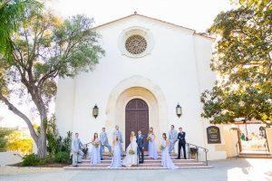 Wedding party photos at The Unitarian Society of Santa Barbara.