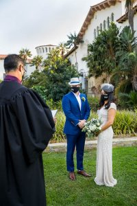 Santa Barbara Courthouse wedding covid style.