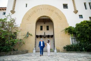 Newlyweds at the Santa Barbara Courthouse.