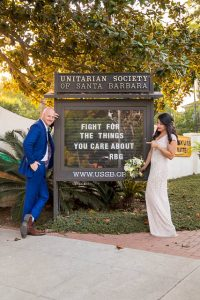 Bride and groom after their Santa Barbara covid elopement.