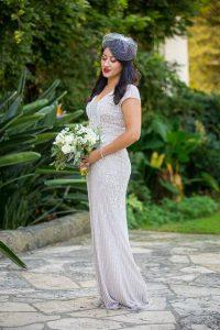 Bride at her Santa Barbara Courthouse covid elopement.