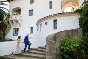 Covid Santa Barbara Courthouse elopement couple.