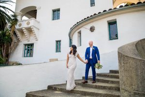 Wedding couple at Santa Barbara Courthouse coronavirus elopement.