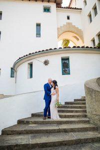 Bride and groom at Santa Barbara Courthouse wedding covid.