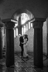 Newlyweds at the Santa Barbara Courthouse during their coronavirus wedding.