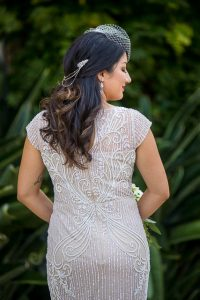 Stylish bride at her Santa Barbara Courthouse elopement.