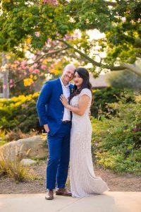 Newlyweds after their Santa Barbara covid elopement.