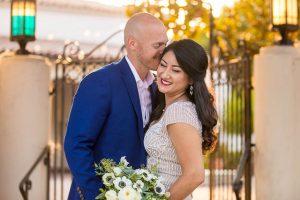 Bride and groom after their Santa Barbara covid wedding..