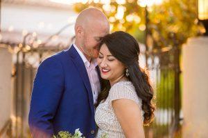 Unitarian Society of Santa Barbara Covid wedding newlyweds.