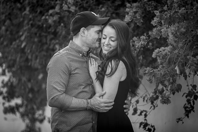 Fiancé and Fiancée holding each other during their romantic Santa Barbara engagement photoshoot.